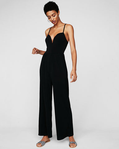 Wide Leg V-Wire Jumpsuit In Pitch Black