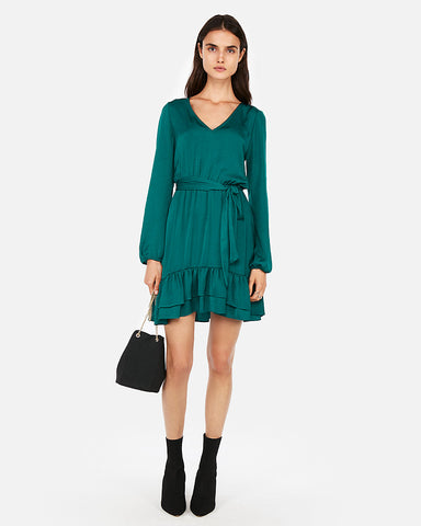 Ruffle Hem Elastic Waist Dress in Green