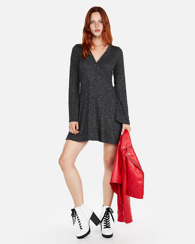 Plush Jersey Fit And Flare Dress In Charcoal Gray