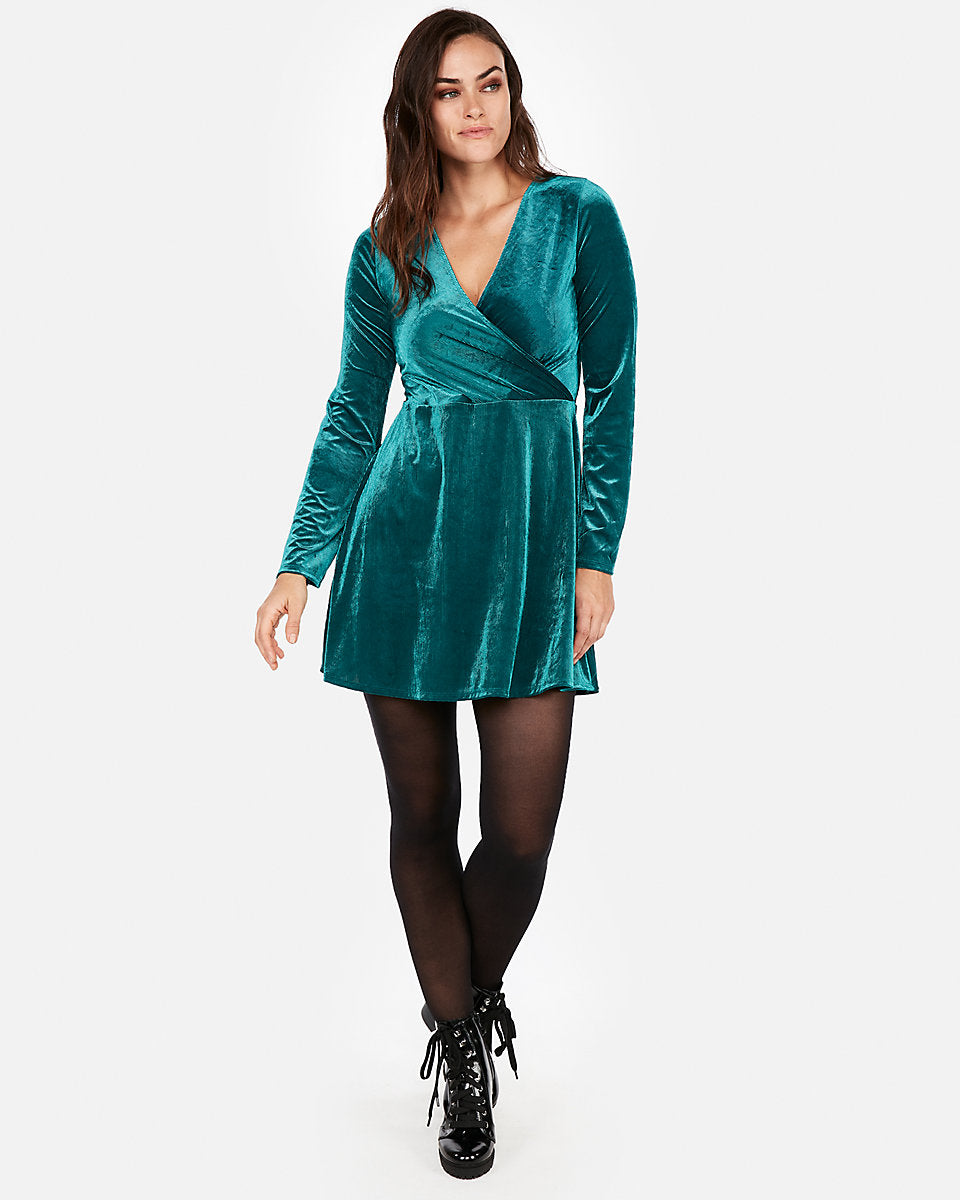 5e916d9fc1 Velvet Surplice Fit And Flare Dress in Deep Teal