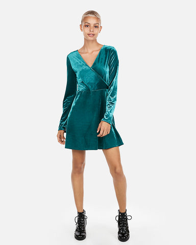 Velvet Surplice Fit And Flare Dress in Deep Teal