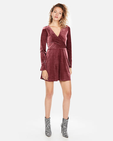 Velvet Surplice Fit And Flare Dress in Wine