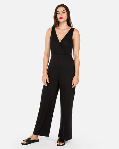 Ribbed Surplice Fitted Jumpsuit In Pitch Black