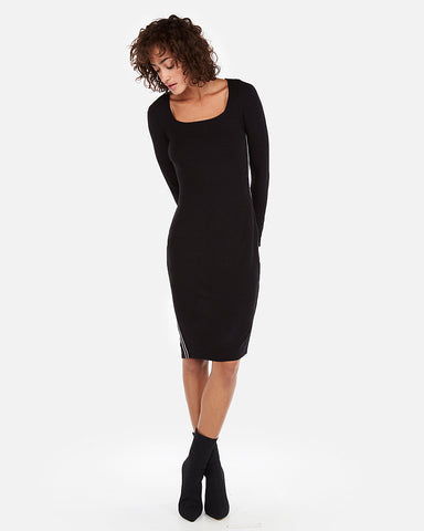 Ribbed Square Neck Sheath Dress In Pitch Black