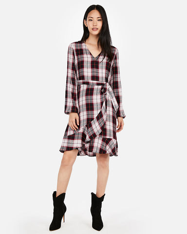 Plaid Wrap Front Dress in Red Print