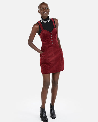 Corduroy Bustier Fit And Flare Dress In Wine