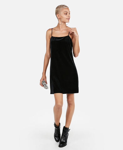 Velvet Square Neck Slip Dress in Black