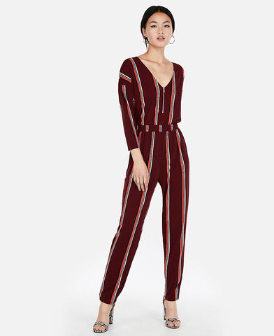 Stripe V-Neck Zip Front Jumpsuit in Red Stripe