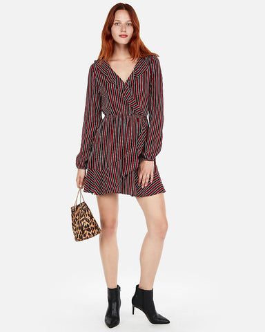 Stripe Elastic Waist Ruffle Dress In Red Stripe