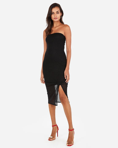 733969af0a238 Express Twist Front Ribbed Midi Dress in Black