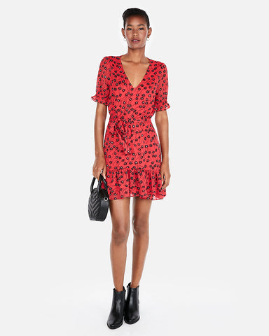 Floral Short Sleeve Ruffle Hem Mini Dress in Red Print
