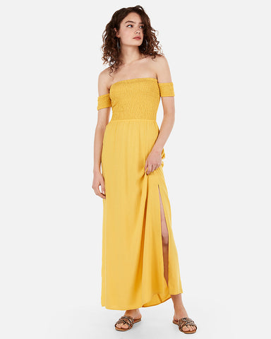 3955b005f9e8 EXPRESS Off The Shoulder Smocked Bodice Maxi Dress in Siren Yellow