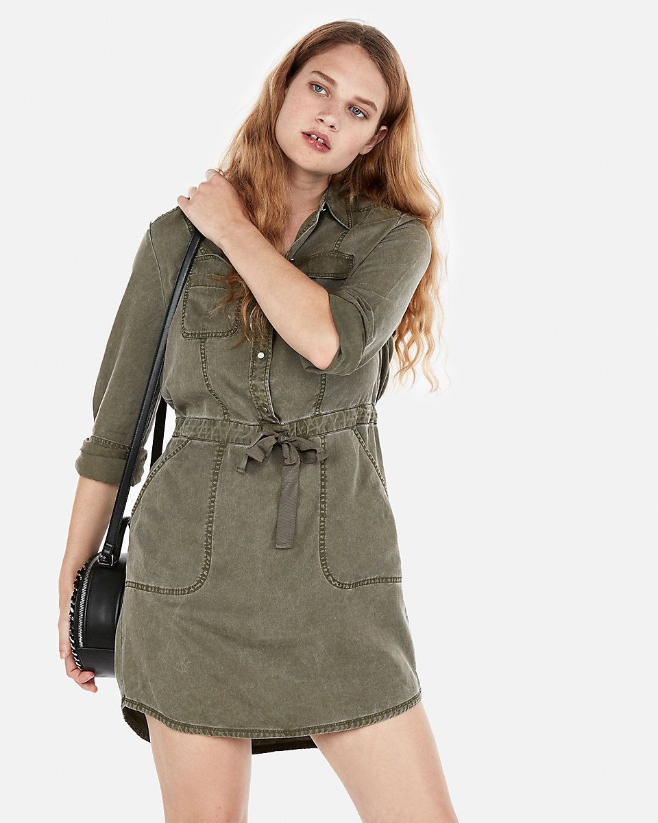 4a66cf6947f23 Express   Long Sleeve Utility Shirt Dress In Olive Green   Express ...