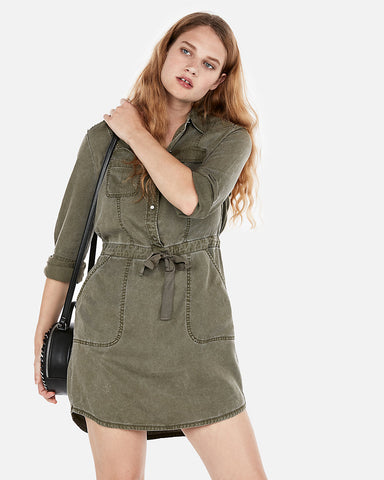 Long Sleeve Utility Shirt Dress In Olive Green