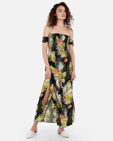 8bb8e50a36 Express Off The Shoulder Smocked Bodice Maxi Dress in Print