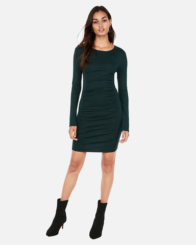 Ruched Sweater Dress in Dark Green