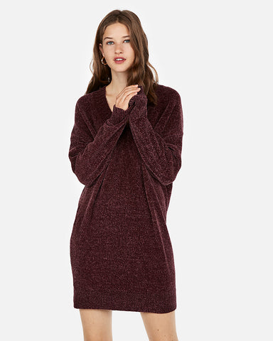 V-Neck Shift Sweater Dress in Cabernet