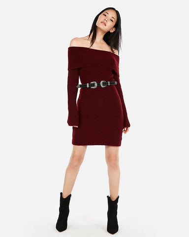 717ff8f988a8 EXPRESS Off The Shoulder Sweater Dress in Wine
