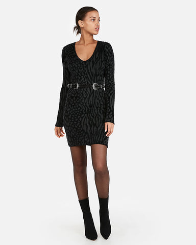 Fitted Burnout Animal Pattern Sweater Dress in Black Print