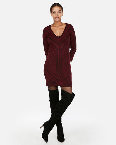 Fitted Jacquard Metallic Sweater Dress in Cabernet
