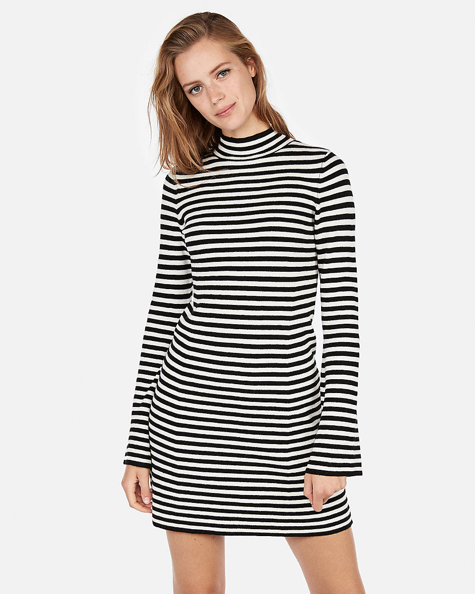 fcf6369210 Striped Ribbed Mock Neck Dress in Black And White