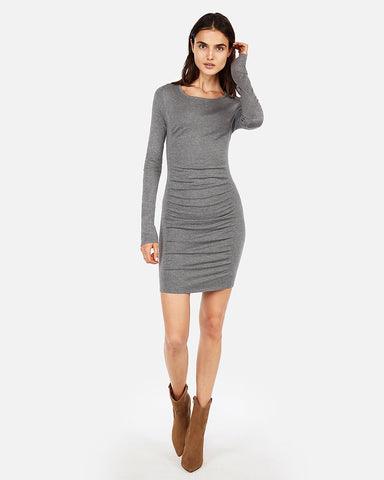 Solid Ruched Sweater Dress in Heather Gray