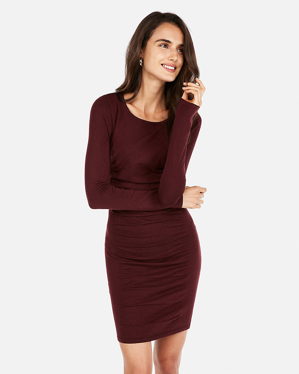 3e7fcb5b548 Ruched Long Sleeve Marled Sweater Dress in Cabernet