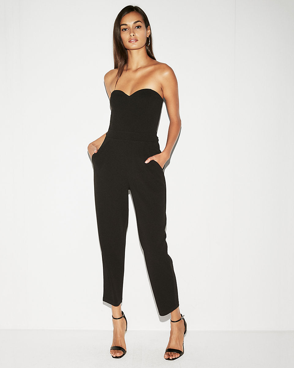 8b0a681f417 Strapless Sweetheart Neckline Jumpsuit In Pitch Black