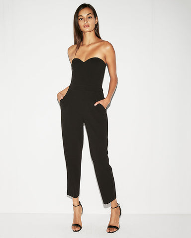 Strapless Sweetheart Neckline Jumpsuit In Pitch Black