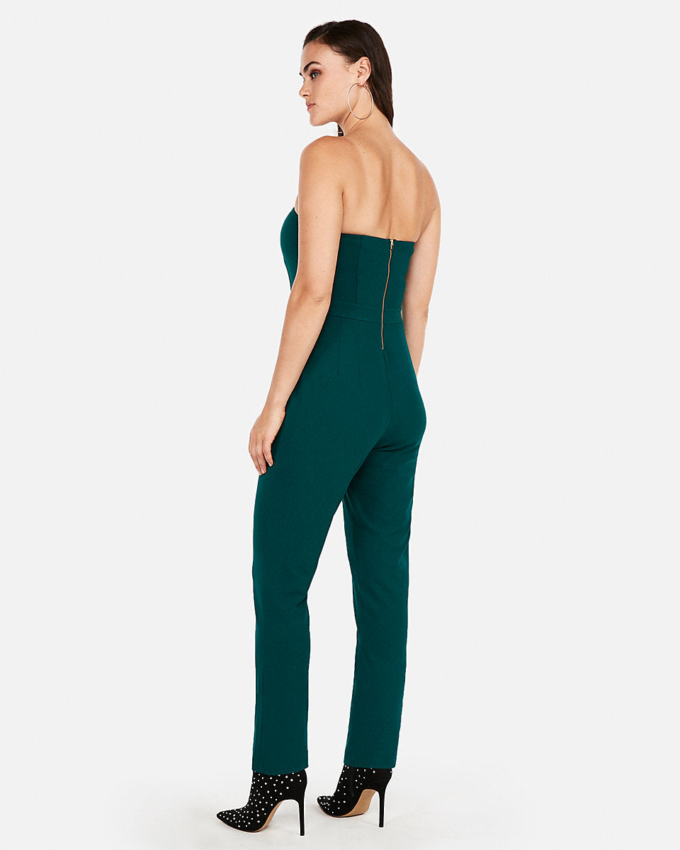 b7617f679c27 Strapless Sweetheart Neckline Jumpsuit in Deep Teal