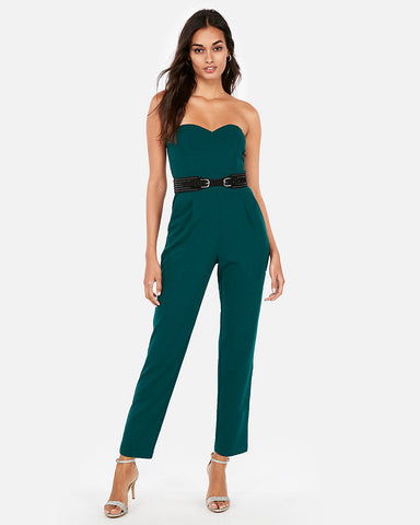 Strapless Sweetheart Neckline Jumpsuit in Deep Teal