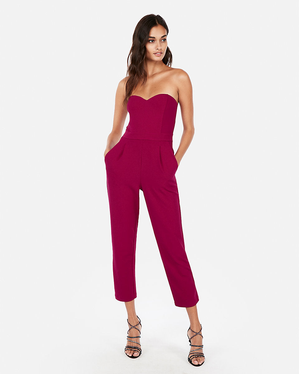 4978f839845d Strapless Sweetheart Neckline Jumpsuit in Plum