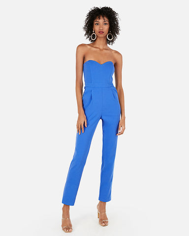 Strapless Sweetheart Neck Jumpsuit in Bright Blue