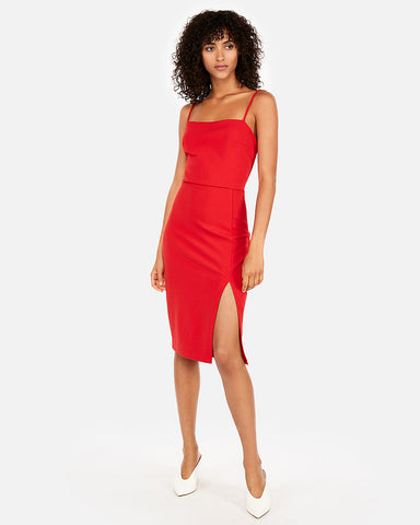 Front Slit Sheath Dress In Red