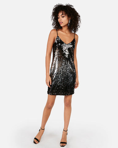 Gradient Sequin Cami Dress in Black
