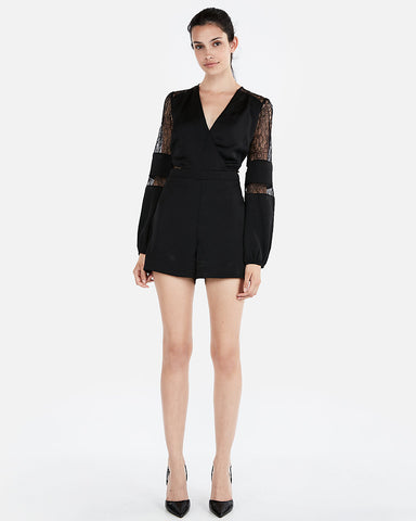 V-Neck Mixed Lace Romper In Pitch Black