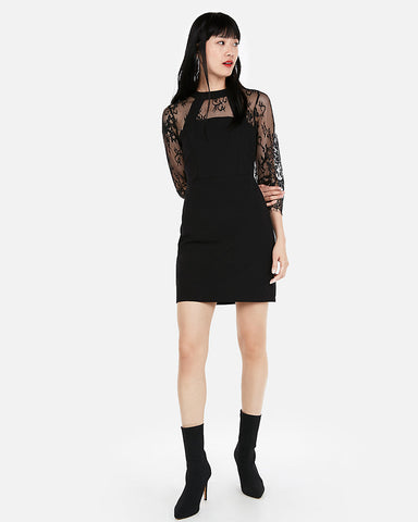 Three-Quarter Sleeve Lace Sheath Dress In Pitch Black