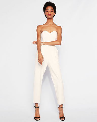 Strapless Sweetheart Neckline Jumpsuit in Soft Ivory