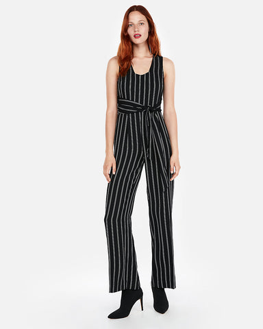Stripe Tie Front Wide Leg Jumpsuit In Black And White