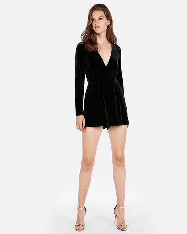 Long Sleeve Velvet Romper in Black