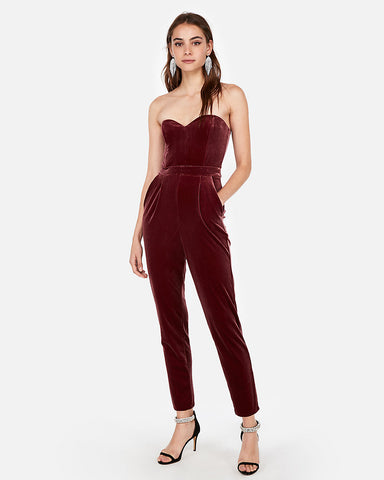 Velvet Strapless Sweetheart Jumpsuit In Wine
