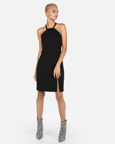 High Neck O-Ring Sheath Dress in Black