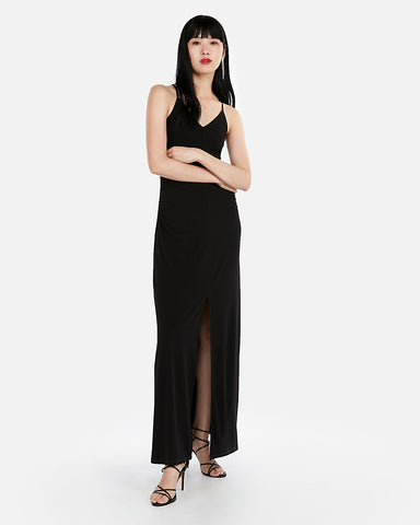 Ruched Side Slit Maxi Dress In Pitch Black