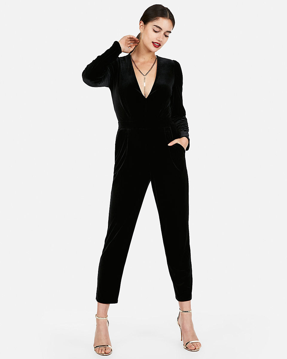 Express Long Sleeve Velvet Jumpsuit In Black Express Style Trial