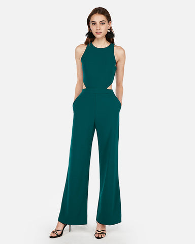 Cut-Out Side Jumpsuit in Deep Teal