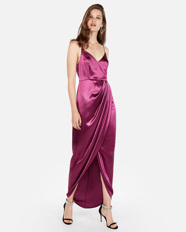 Satin Wrap Front Maxi Dress in Plum