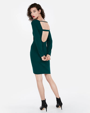 Scoop Back Mini Sheath Dress in Deep Teal