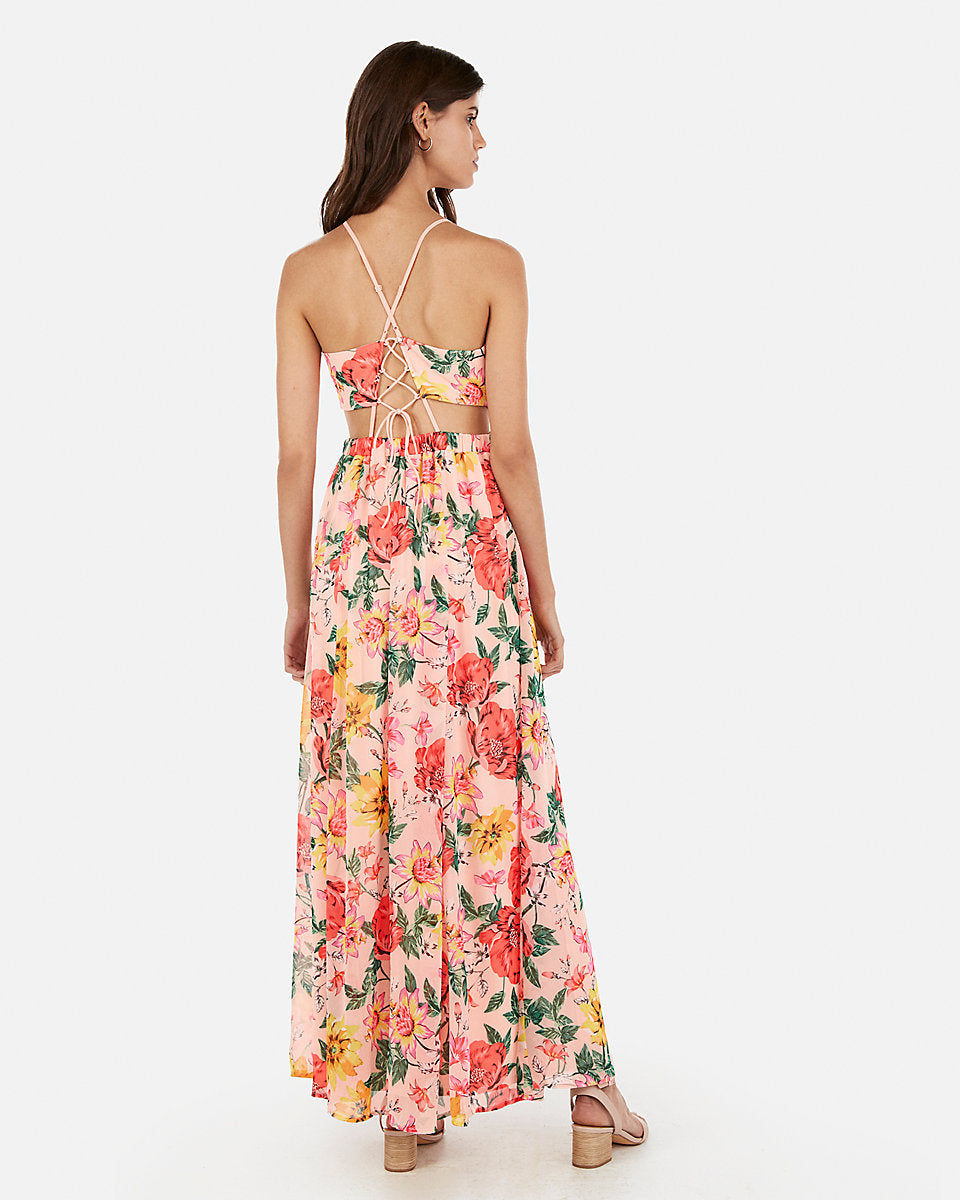 864b5d1aa1cc8 Express | Floral Surplice Cut-Out Lace-Up Back Maxi Dress in Floral ...