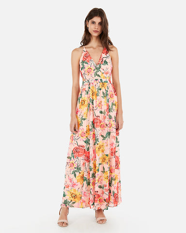 19553c87ffa5 EXPRESS Floral Surplice Cut-Out Lace-Up Back Maxi Dress in Floral Print