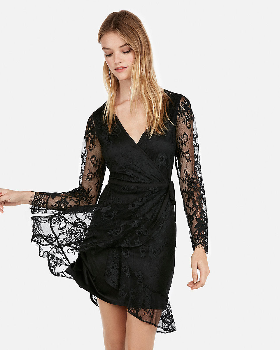 80c90fdcb3b8 Express | Lace Wrap Fit And Flare Dress in Black | Express Style Trial
